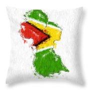 Guyana Painted Flag Map Throw Pillow