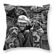 Guys Dogs Bench In Jackson Square - Bw Throw Pillow