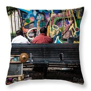 Guys On A Bench - Jackson Square Throw Pillow