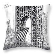 Gw Bridge American Flag In Black And White Throw Pillow