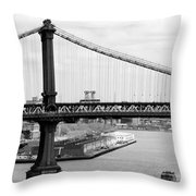 Manhattan Bridge Span Throw Pillow