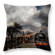 Gwr Steam Train Pulling Into Platform Throw Pillow