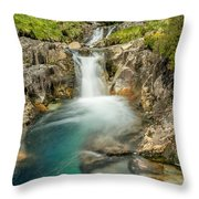Gwynant Waterfall Throw Pillow