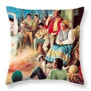 Gypsies Partying Throw Pillow