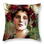 Gypsy Girl Of Autumn Vintage Throw Pillow