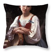 Gypsy Girl With A Basque Drum Throw Pillow