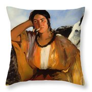 Gypsy With A Cigarette Throw Pillow
