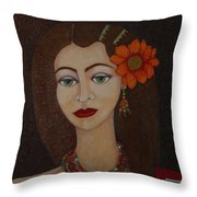 Gypsy With Green Eyes Throw Pillow