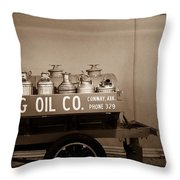 H And G Oil Company In Sepia Throw Pillow