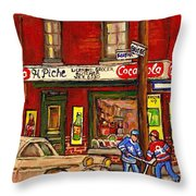 H. Piche Grocery - Goosevillage -paintings Of Montreal History- Neighborhood Boys Play Street Hockey Throw Pillow