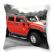 Red Hummer H2 Series  Throw Pillow