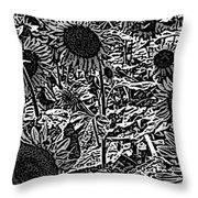 H2 Sunflowers Map Bw Throw Pillow