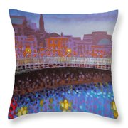 Ha Penny Bridge Dublin  Cropped Throw Pillow