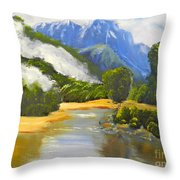 Haast River New Zealand Throw Pillow
