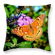 Hackberry Emperor Butterfly On Flowers Throw Pillow