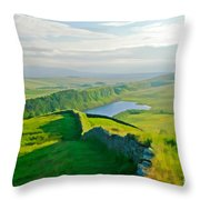 Hadrians Wall And Crag Lough Throw Pillow