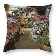 Haefner's Garden Center Impatiens Throw Pillow
