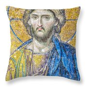 Hagia Sofia Jesus Mosaic Throw Pillow by Antony McAulay