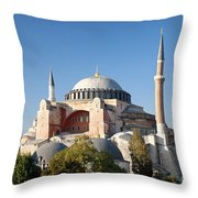 Hagia Sophia Mosque Landmark In Instanbul Turkey Throw Pillow