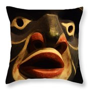 Haida Carved Wooden Mask 5 Throw Pillow