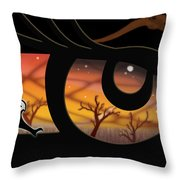 Haida Owl Raven Digital Illustration Owl Eyes Throw Pillow