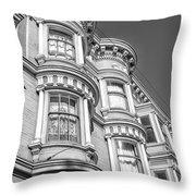 Haight Street Windows Bw Throw Pillow