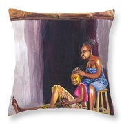 Hair Dresser In Rwanda Throw Pillow