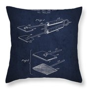 Hair Straightener Patent From 1909 - Navy Blue Throw Pillow