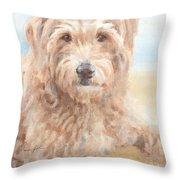 Hairy Sheepdog Watercolor Portrait Throw Pillow