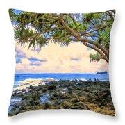 Hala Trees At Ka'anae Point Throw Pillow