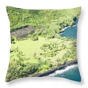 Aerial View Hale O Pi'ilani Heiau Honomaele Hana Maui Hawaii  Throw Pillow