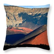 Haleakala Cinder Cones Lit From The Sunrise Within The Crater Throw Pillow