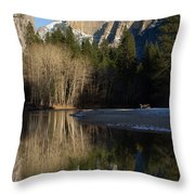Half Dome And Cottonwoods Reflected In Merced River  Throw Pillow