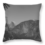 Half Dome In Distance Black And White Throw Pillow