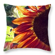 Half Of A Sunflower Throw Pillow