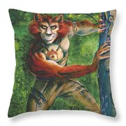 Half Wolf Werewolf Throw Pillow