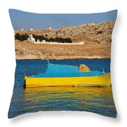 Halki Fishing Boat Throw Pillow