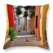 Halki Street Throw Pillow
