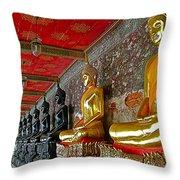 Hall Of Buddhas At Wat Suthat In Bangkok-thailand Throw Pillow