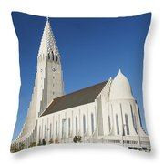 Hallgrimskirkja Church In Reykjavik Iceland Throw Pillow