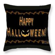 Halloween Bat Border Throw Pillow