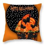 Halloween Black Cat Cupcake 2 Throw Pillow