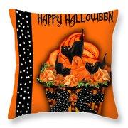 Halloween Black Cat Cupcake 3 Throw Pillow