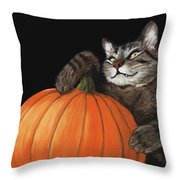 Halloween Cat Throw Pillow