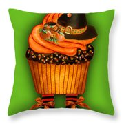 Halloween Cupcakes - Green Throw Pillow