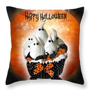 Halloween Ghost Cupcake 1 Throw Pillow