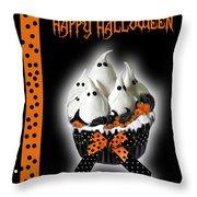 Halloween Ghost Cupcake 3 Throw Pillow