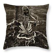 Halloween Green Skeleton Black And White Throw Pillow