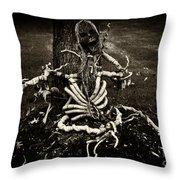 Halloween Green Skeleton Vinette Black And White Throw Pillow