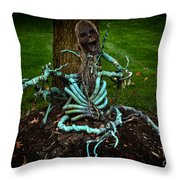 Halloween Green Skeleton Vinette Throw Pillow